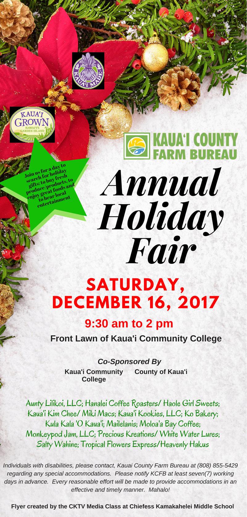 Christmas Craft Show Flyer.Holiday Market And Craft Fair At Kauai Community Market A