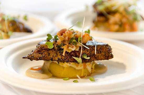 Spiced Seared Mahi Mahi on Kabocha Pumpkin Puree With Chipotle Coconut Sauce and Shrimp & Bacon Relish